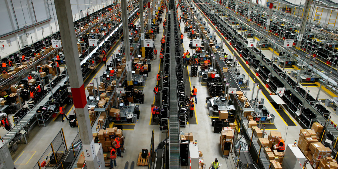 A general view of the new Amazon logistic center in Dortmund