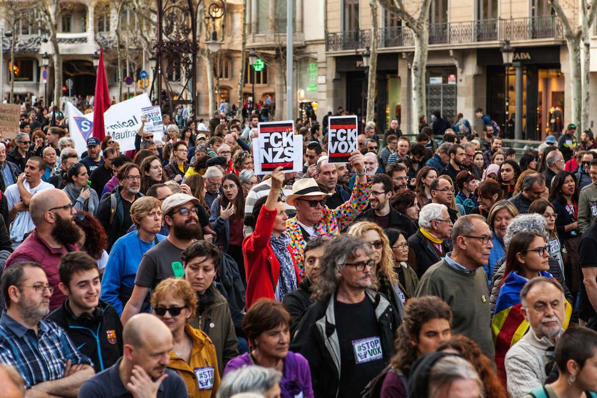 Demostration against the spanish far right party called VOX. Barcelona, 23/03/19