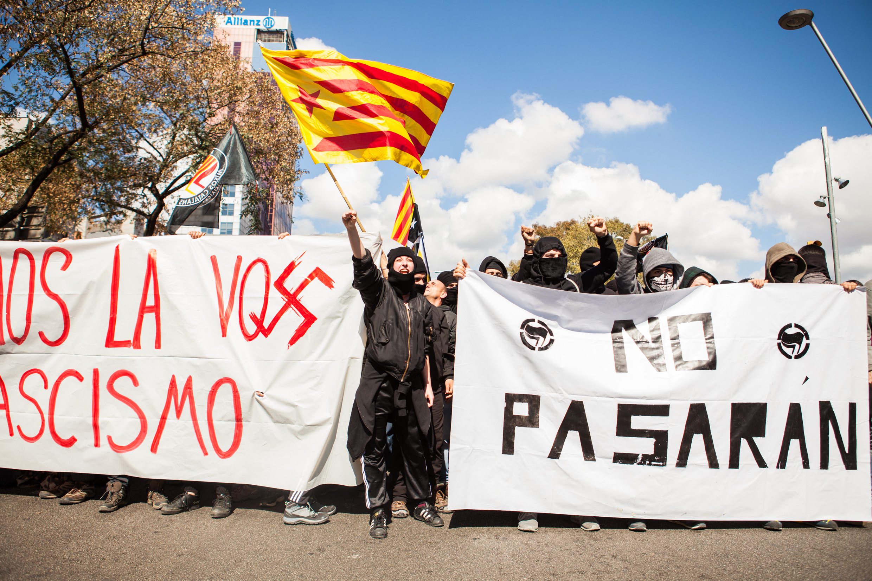 Antifascist group against  VOX demostration. Barcelona