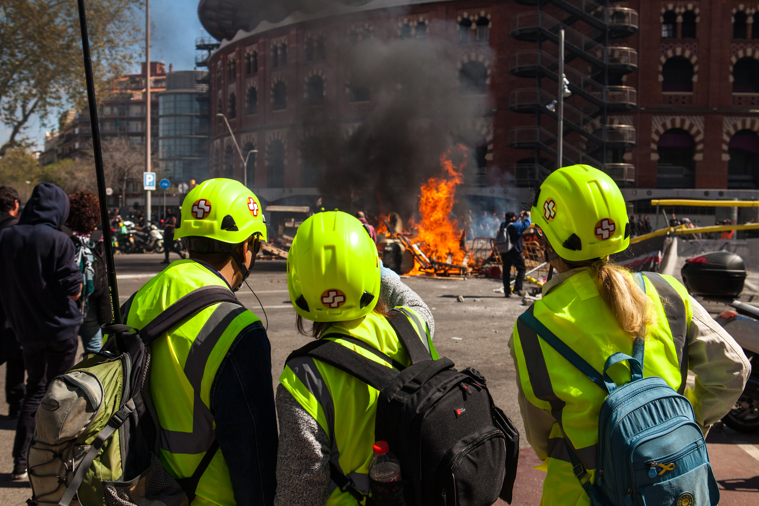 Street medic group supporting protest against VOX. Barcelona