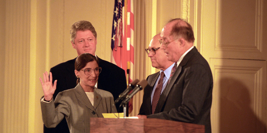 Chief_Justice_William_Rehnquist_Administers_the_Oath_of_Office_to_Judge_Ruth_Bader_Ginsburg_as_Associate_Supreme_Court_Justice_at_the_White_House_-_NARA_-_131493872 (1)