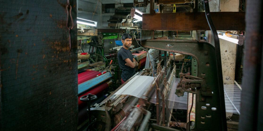 Textile factory in Varanasi India