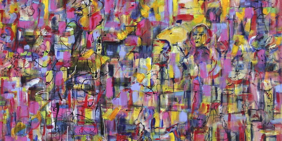 'Uruk_Cityscape'-_Nigel_Packham-_acrylic_painting_2014,_110x140_cm