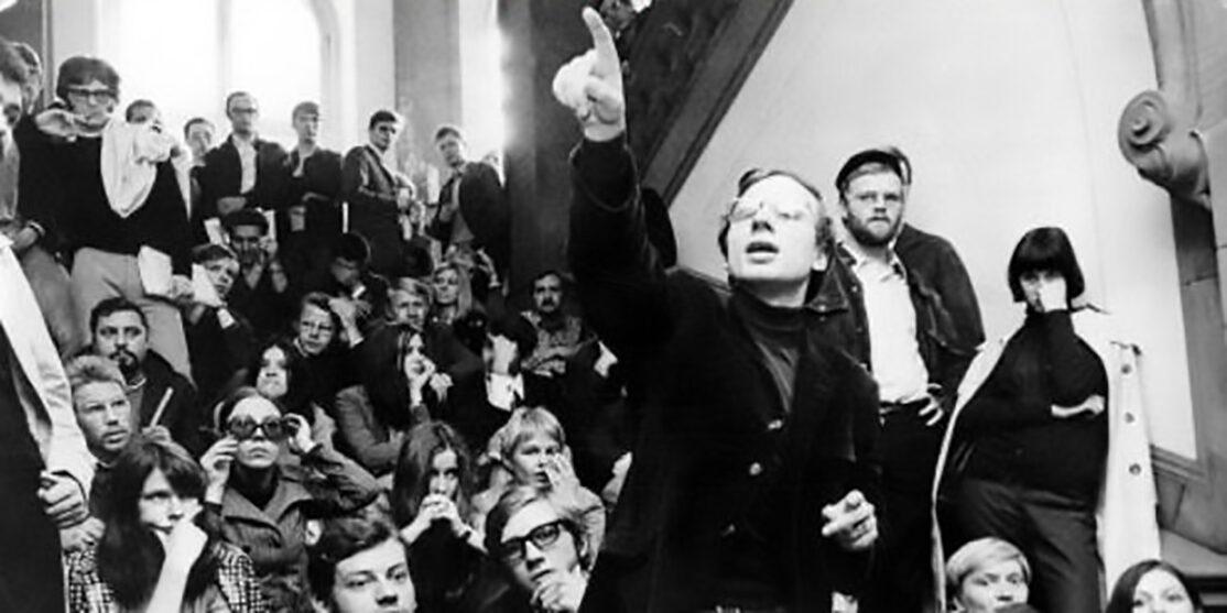 Studenten-Demos BRD – Besetzung der Frankfurter Uni; mitte J?rgen Krahl, Vorstandsmitglied der SDS