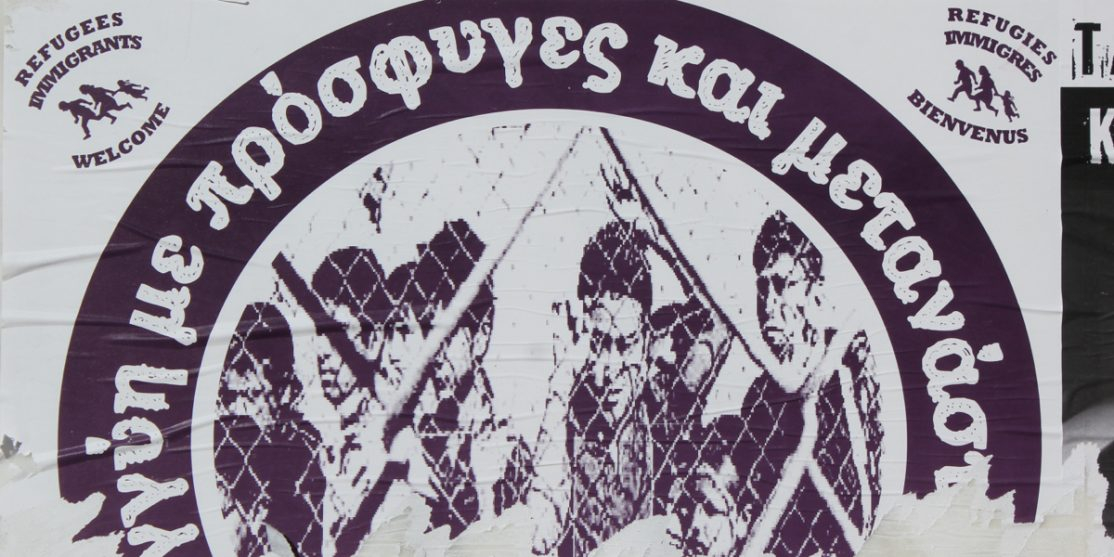 Refugee solidarity sticker in Athens credit Kandukuru Nagarjun CC BY 2.0